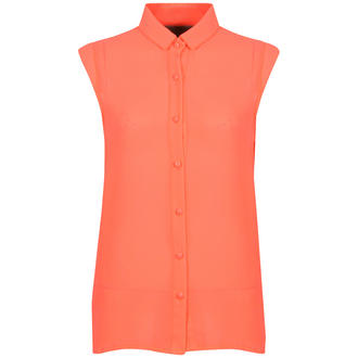 View Item Neon Orange Cap Sleeve Shirt